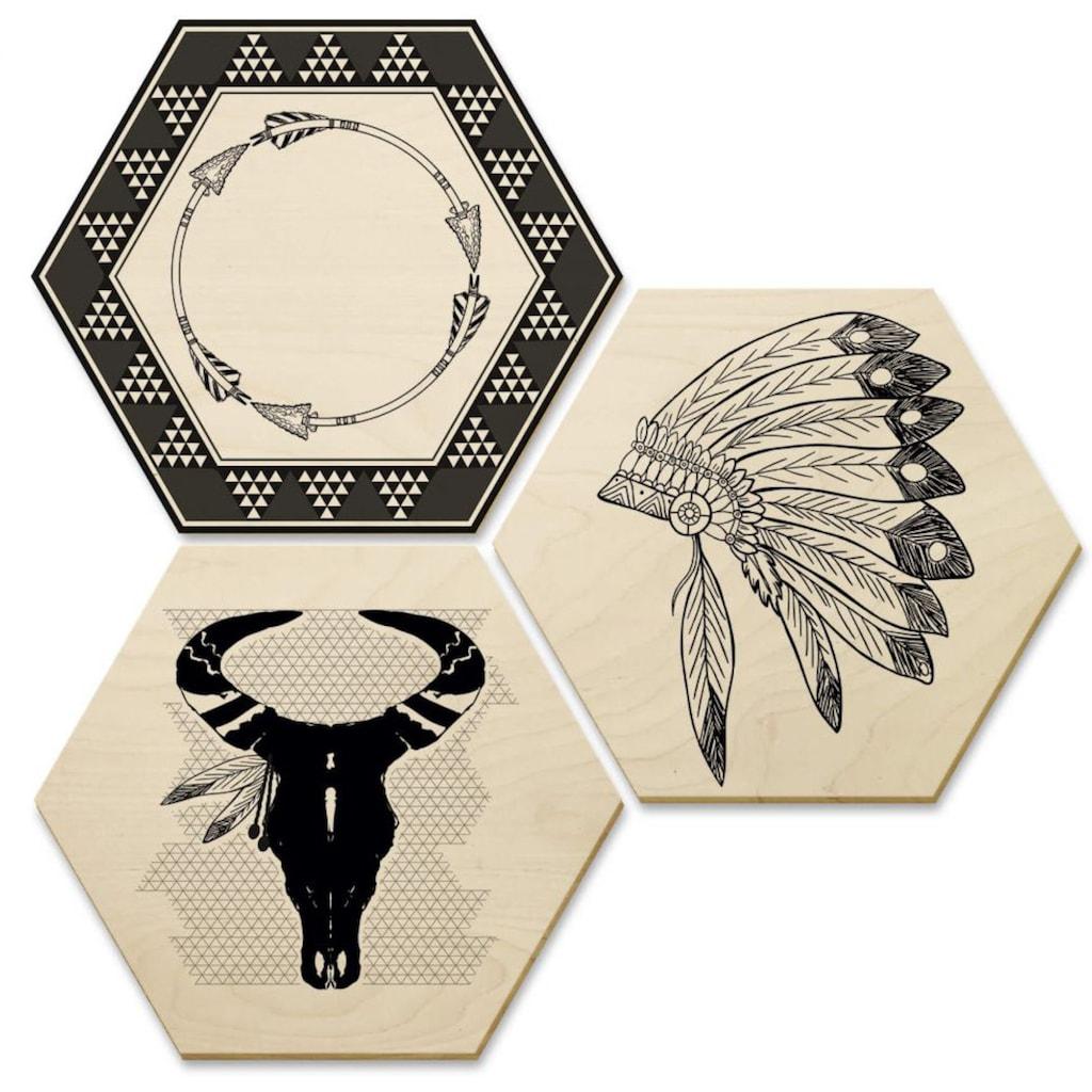 Wall-Art Mehrteilige Bilder »Ethno Indianer Boho Collage«, (Set, 3 St.)