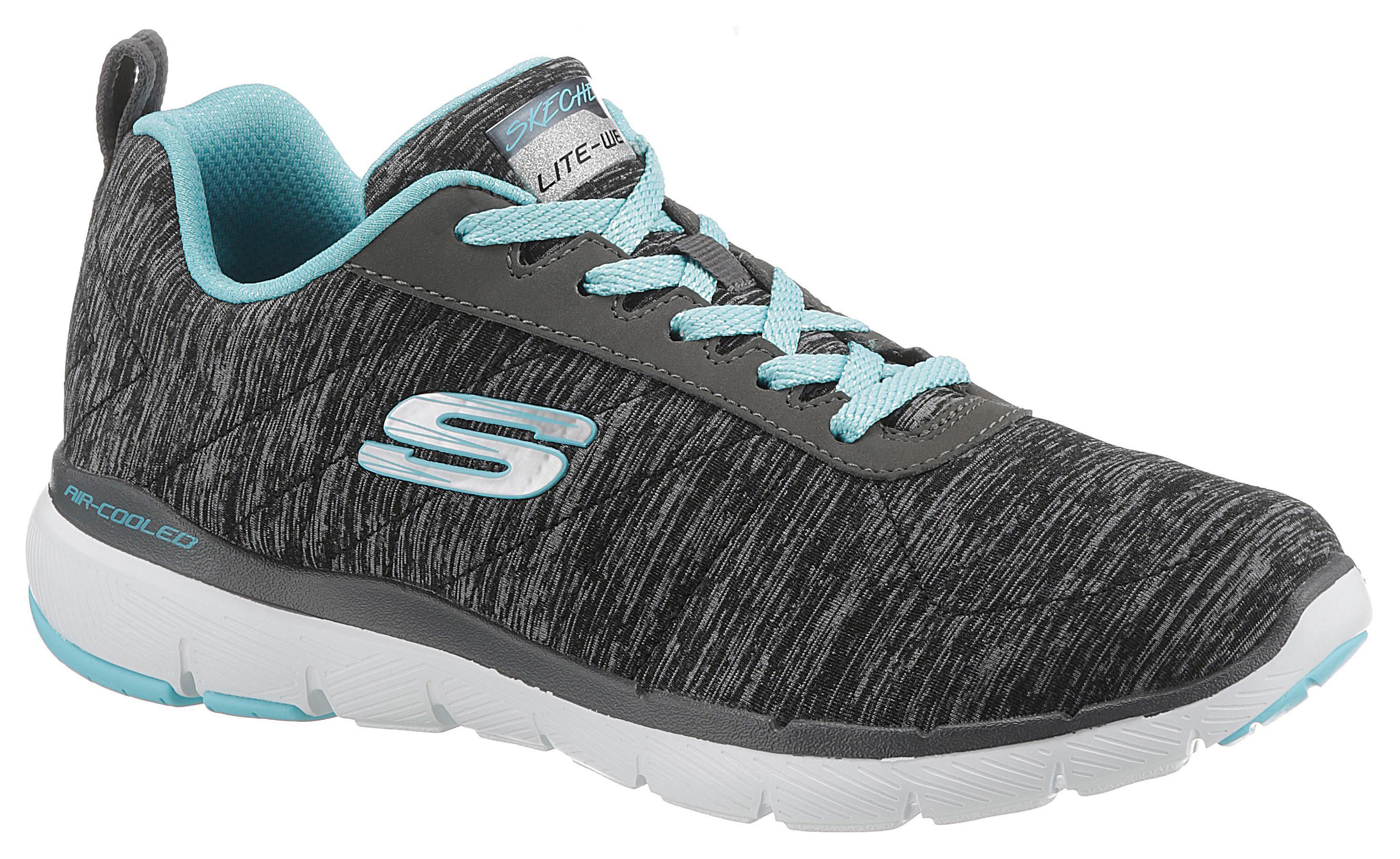 Skechers Sneaker Flex Appeal 3.0 schwarz Damen Schnürhalbschuh Halbschuhe