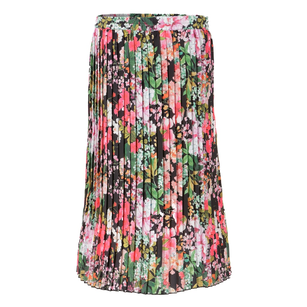 Aniston CASUAL Plisseerock, mit farbenfrohen Blumendruck - NEUE KOLLEKTION