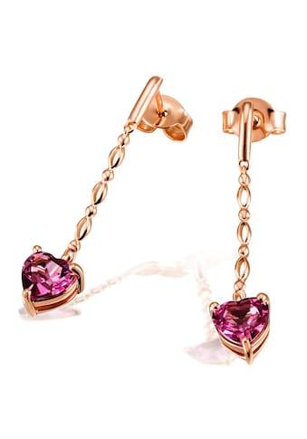 goldmaid Paar Ohrhänger Herz 585/- Rotgold 2 Rhodolithe kaufen