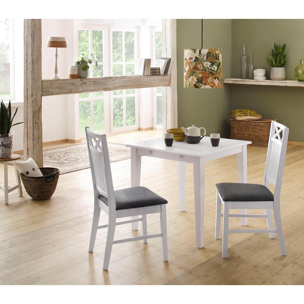 Home affaire Essgruppe »Olvera«, (Set, 3 tlg.), aus massivem Kiefernholz, bestehend aus Fullerton Esstisch 80 cm und 2er Set Sonoma Esszimmerstühlen (3-tlg.)