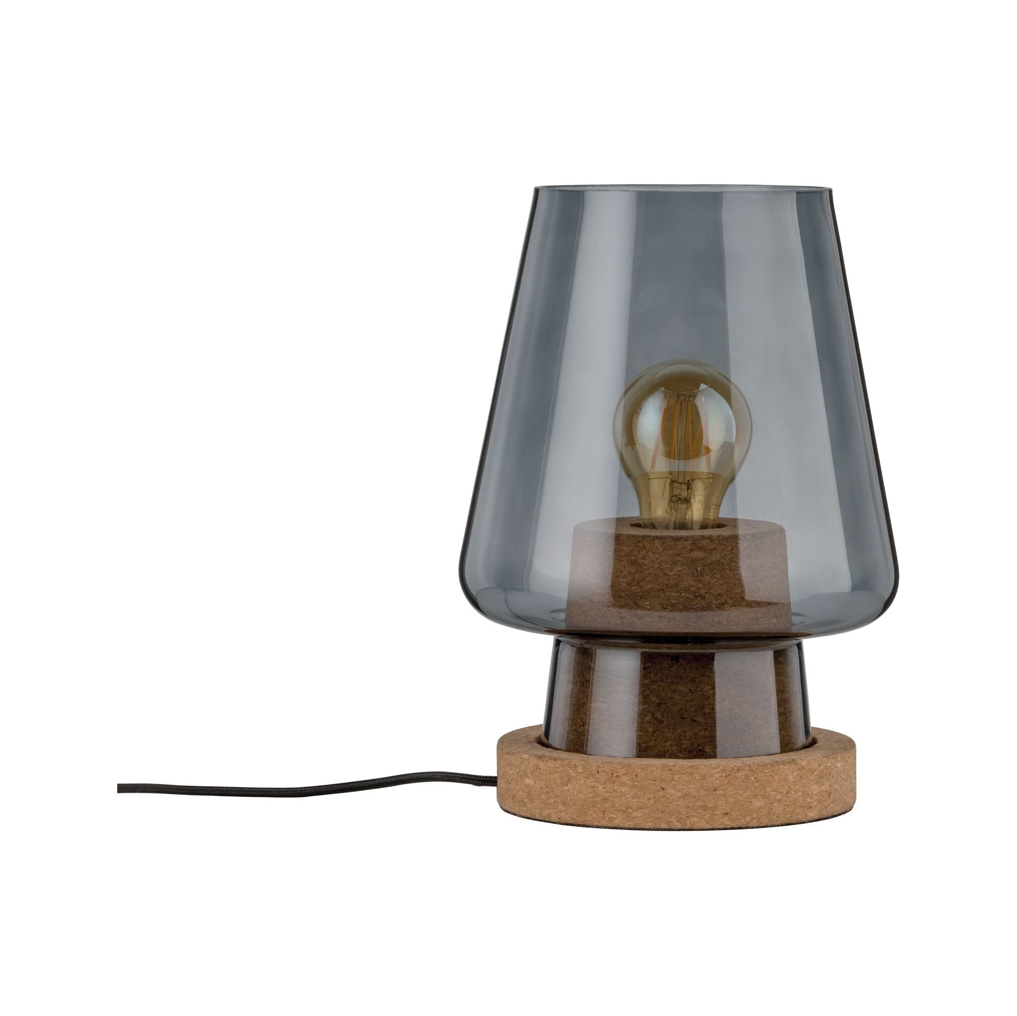 Paulmann LED Tischleuchte Iben Rauchglas/Kork max. 20W E27, E27, 1 St.