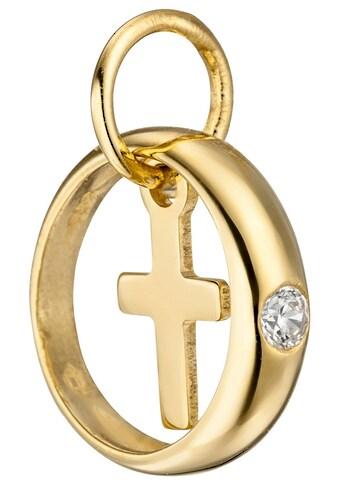 JOBO Kettenanhänger »Taufring mit Kreuz«, 333 Gold mit Zirkonia kaufen