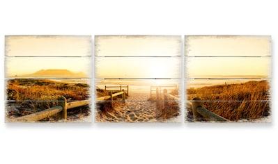 Wall-Art Mehrteilige Bilder »Sonnenuntergang Holzbild Küche«, (Set, 3 St.) kaufen