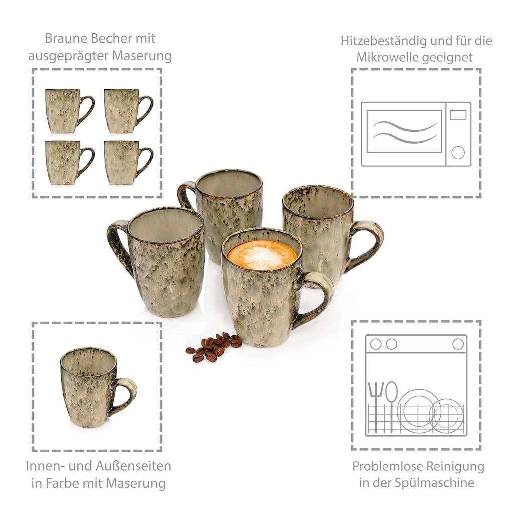 SÄNGER Becher »Pompei«, (4 tlg., Kaffeebecher Pompei aus Porzellan 4 teilig)