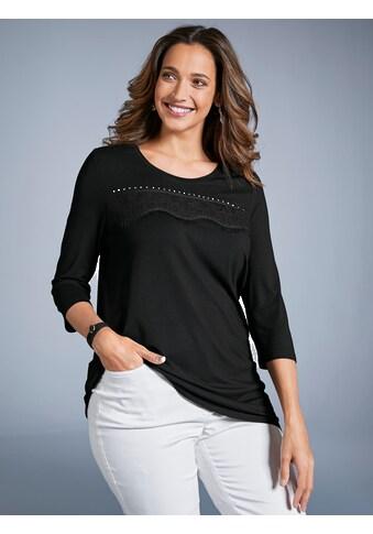 MIAMODA Shirt mit Spitze und Dekosteinen im Vorderteil kaufen