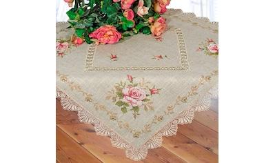 Delindo Lifestyle Mitteldecke »Rosenblüten«, Strukturiertes Gewebe, bestickt kaufen