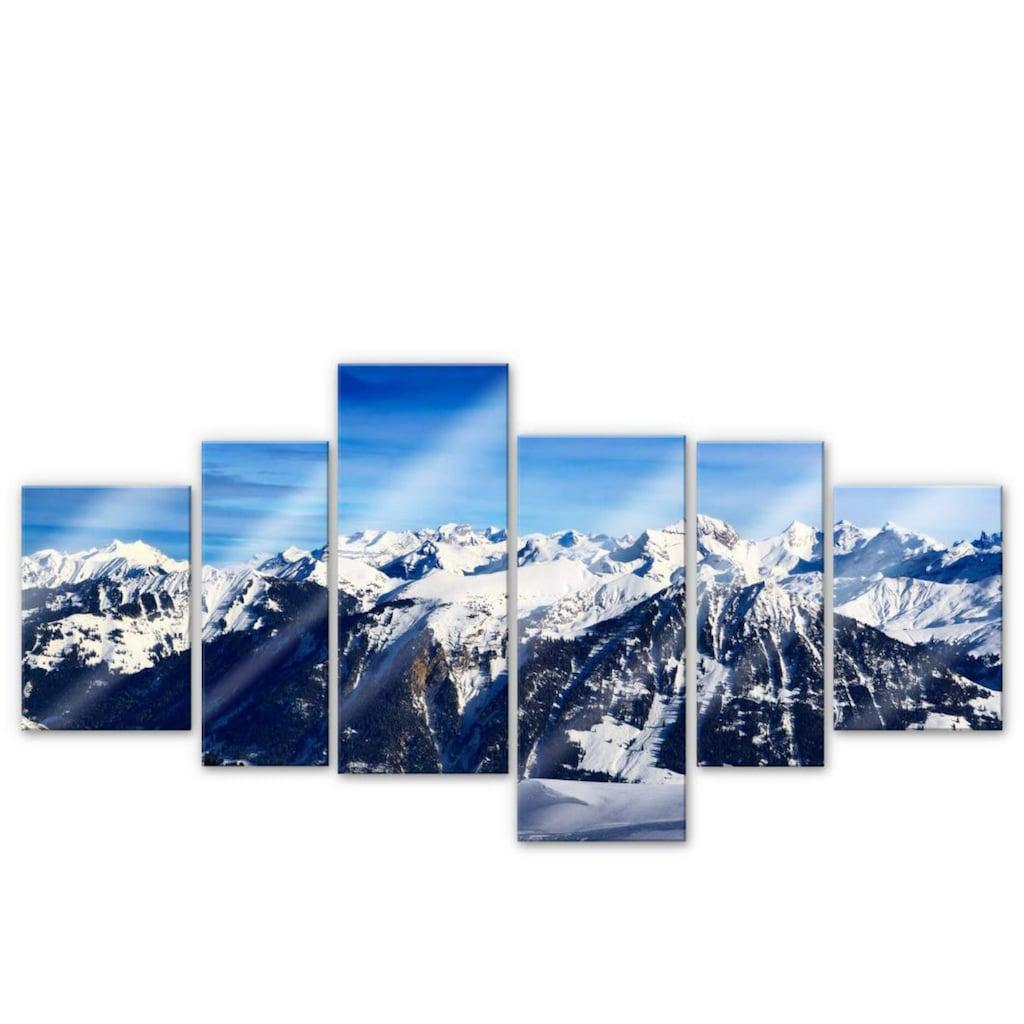 Wall-Art Mehrteilige Bilder »XXL Alpenpanorama (6-teilig)«, (Set, 6 St.)