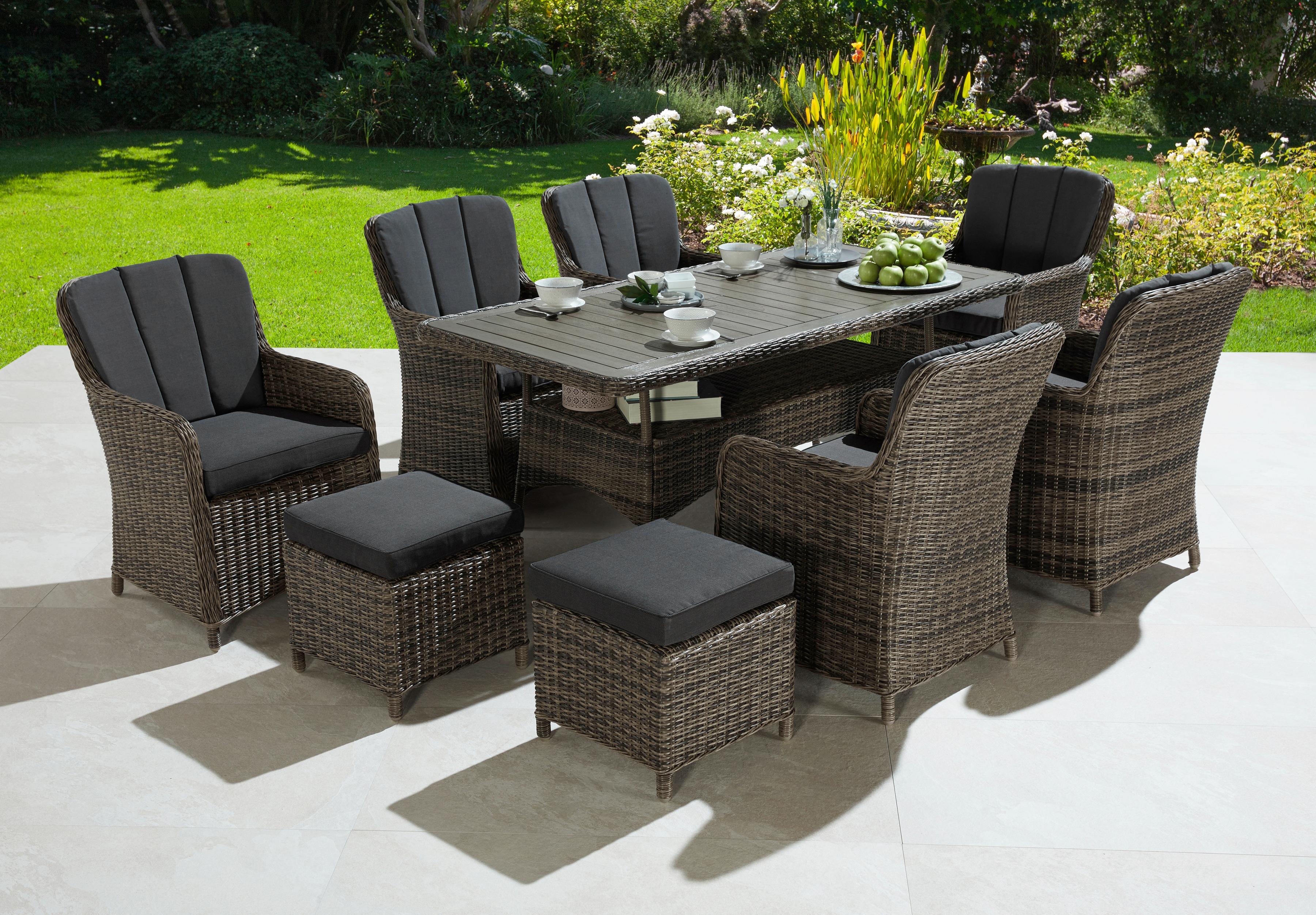 KONIFERA Gartenmöbelset Kenya 23-tlg 6 Sessel 2 Hocker Tisch Polyrattan/Akazie