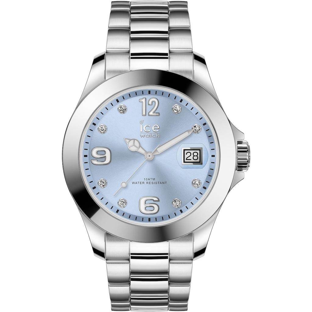 ice-watch Quarzuhr »ICE steel classic - Light blue silver - Stones - Medium - 3H, 16775«