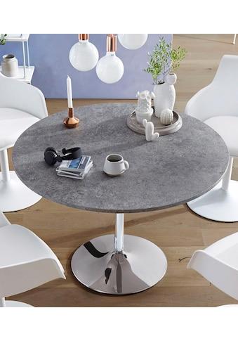 Esstisch »Trompet«, rund, Ø110 cm, Tischplatte weiß Hochglanz kaufen