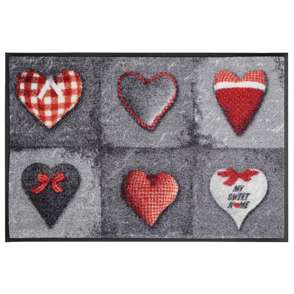 Fußmatte, »My Sweet Home grey«, wash+dry by Kleen-Tex, rechteckig, Höhe 9 mm, gedruckt