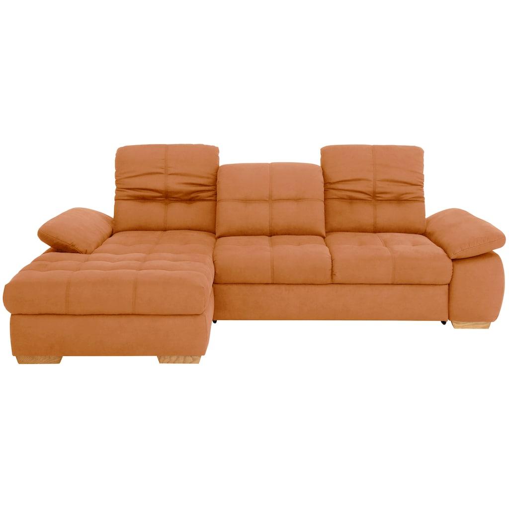 Home affaire Ecksofa »Lotus Home Luxus«, bis zu 140kg pro Sitzplatz belastbar, incl. Sitztiefenverstellung, wahlweise Kopfteil- und Armlehnverstellung, Bettfunktion und Bettkasten