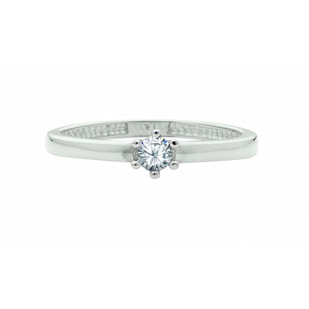 Adelia´s Fingerring »585 Weißgold Ring mit Zirkonia«, Goldschmuck für Damen
