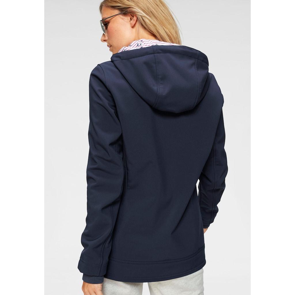 Ocean Sportswear Softshelljacke »Funktionen: Atmungsaktiv, wind- und wasserabweisend«, mit bedrucktem Kapuzenfutter
