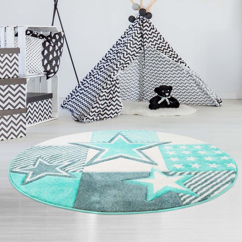 Carpet City Kinderteppich »Bueno Kids 1451«, rund, 13 mm Höhe, Sterne, Kurzflor