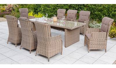 MERXX Gartenmöbelset »Riviera«, 17 - tlg., 8 Hochlehner + Auflagen, Tisch 230x100 cm, Akazie kaufen