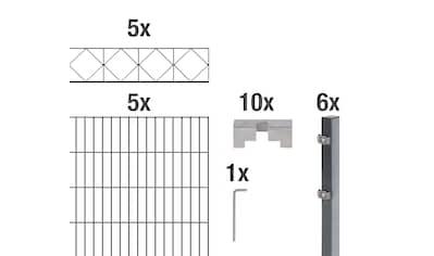 GAH Alberts Doppelstabmattenzaun »Bergen«, anthrazit, 120 cm hoch, 5 Matten für 10 m,... kaufen