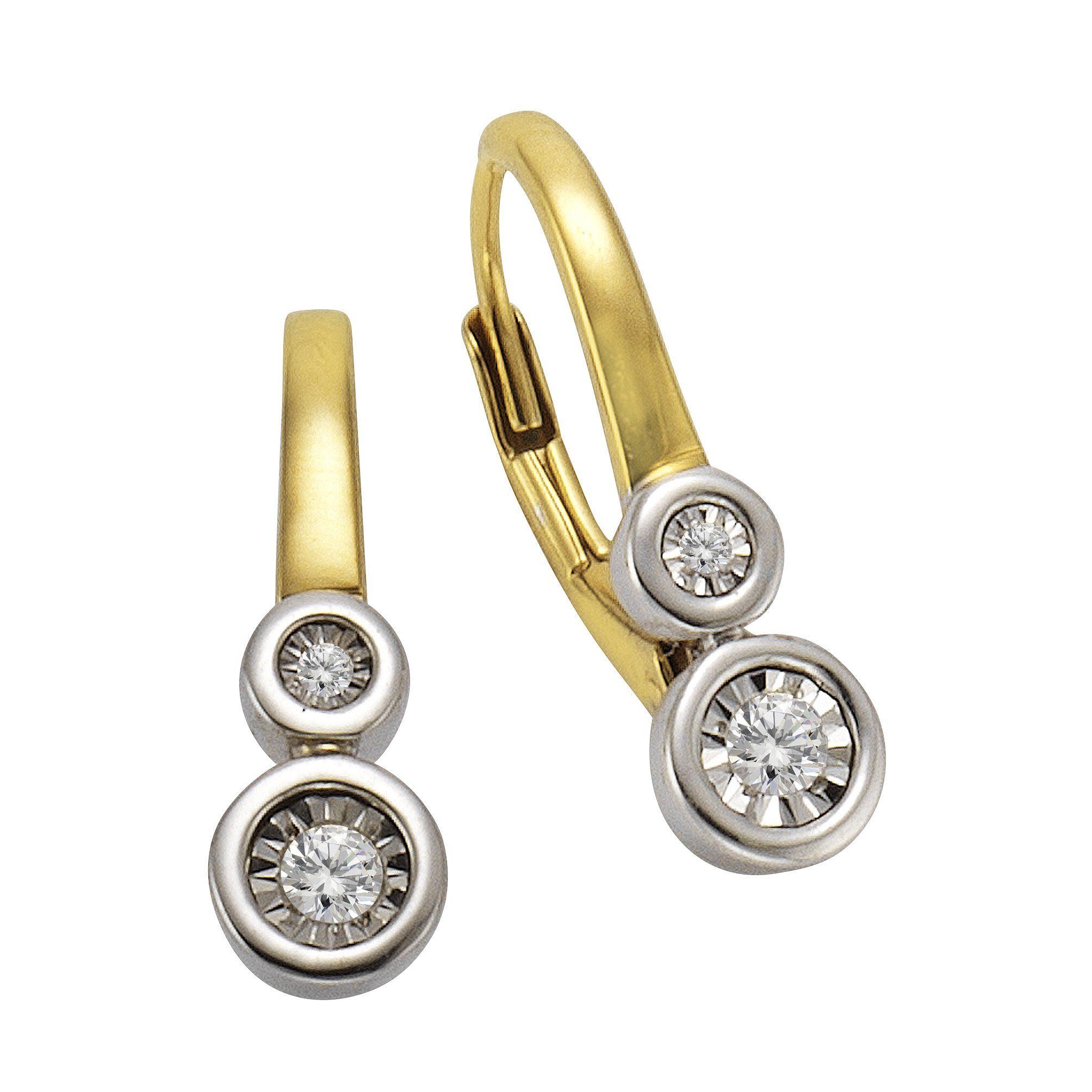 CELESTA Ohrhänger »925/- Silber 4x Diamant«