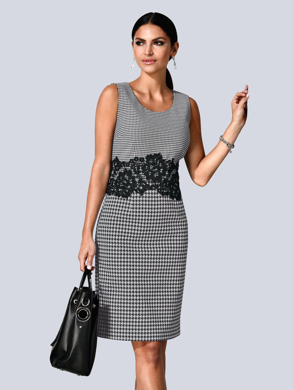 Alba Moda Kleid mit kleinem Vichy-Print im Oberteil