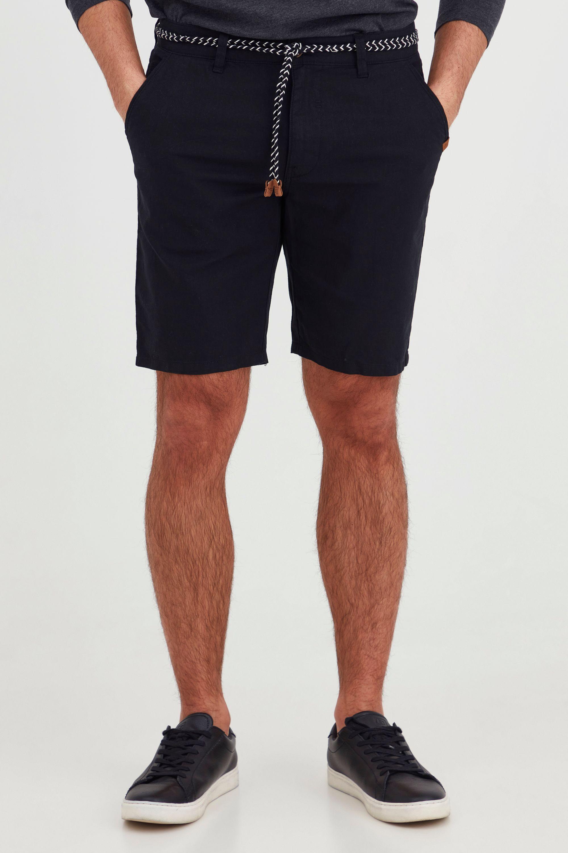 Blend Stoffhose Mennok, Leinen Shorts mit Stoff Gürtel schwarz Herren