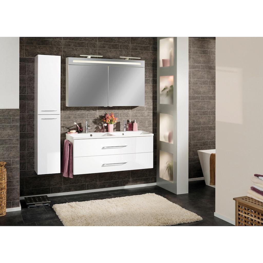 FACKELMANN Spiegelschrank »CL 120 - weiß«, Breite 120 cm, 2 Türen, LED-Badspiegelschrank, doppelseitig verspiegelt