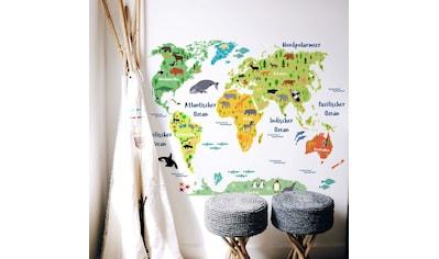 Wall-Art Wandtattoo »Tierwelt Weltkarte Kinderzimmer« kaufen