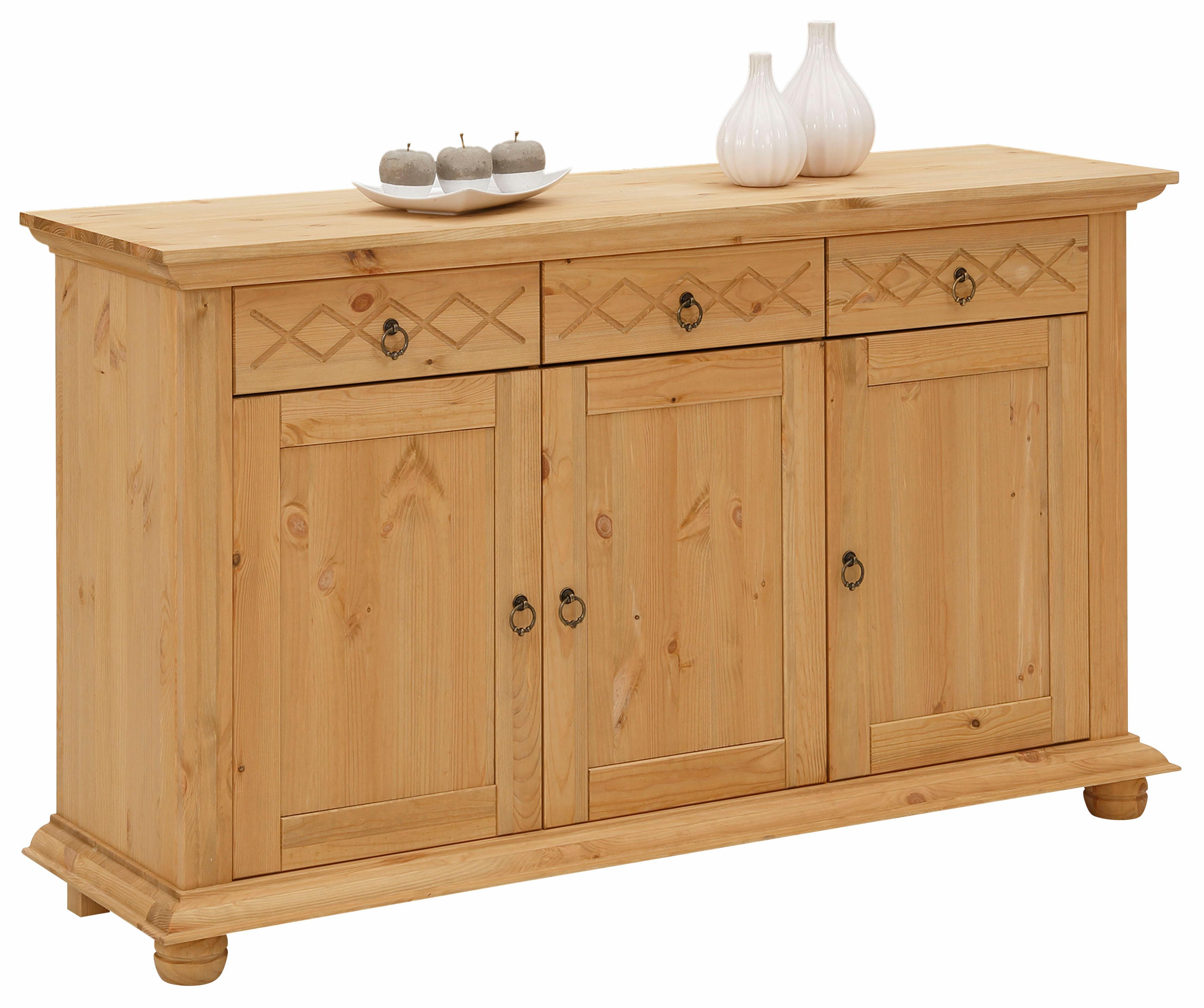 Home affaire Kommode Helma mit dekorativer Kranzleiste Breite 140 cm