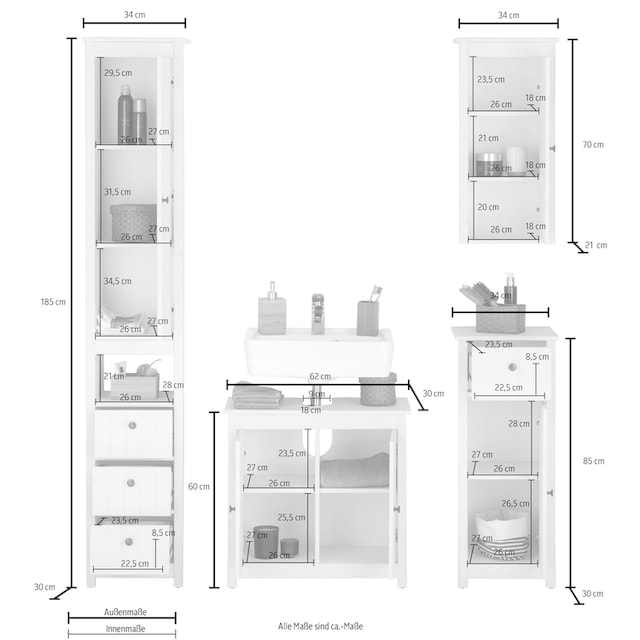 Home affaire Badmöbel-Set »Westa« (Set, 4-tlg)