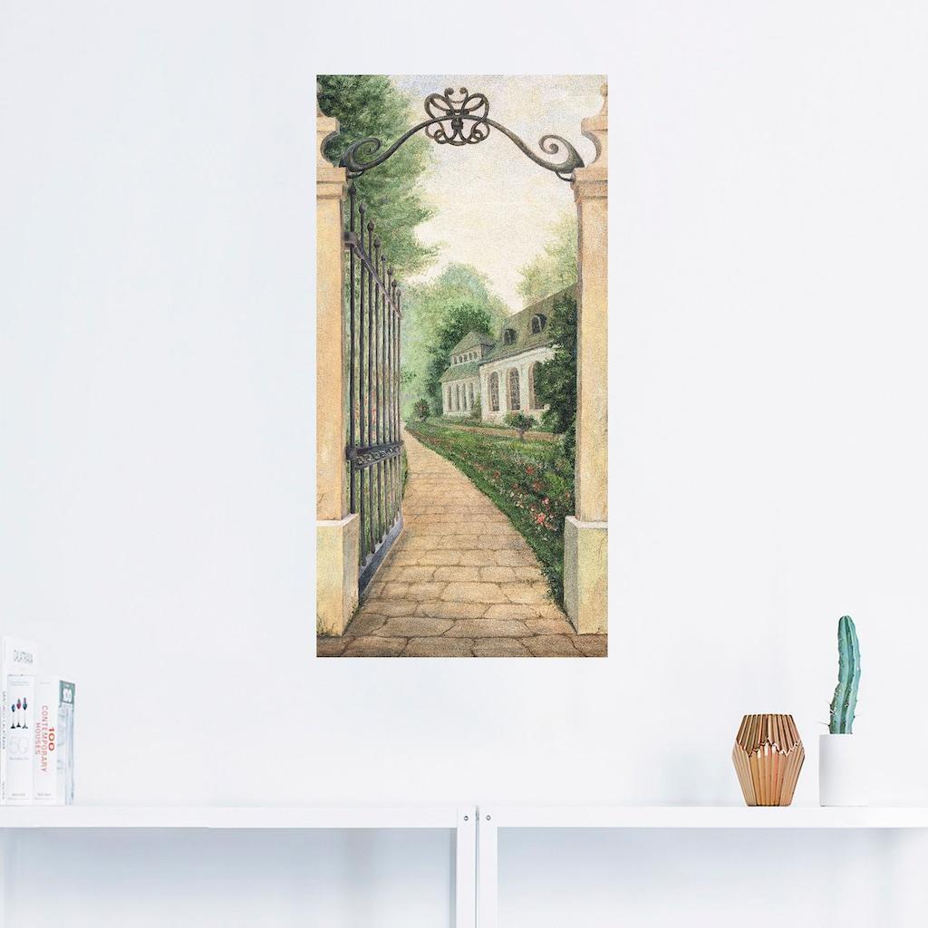 Artland Wandbild »Fresco - Blick durchs Gartentor«, Garten, (1 St.), in vielen Größen & Produktarten - Alubild / Outdoorbild für den Außenbereich, Leinwandbild, Poster, Wandaufkleber / Wandtattoo auch für Badezimmer geeignet