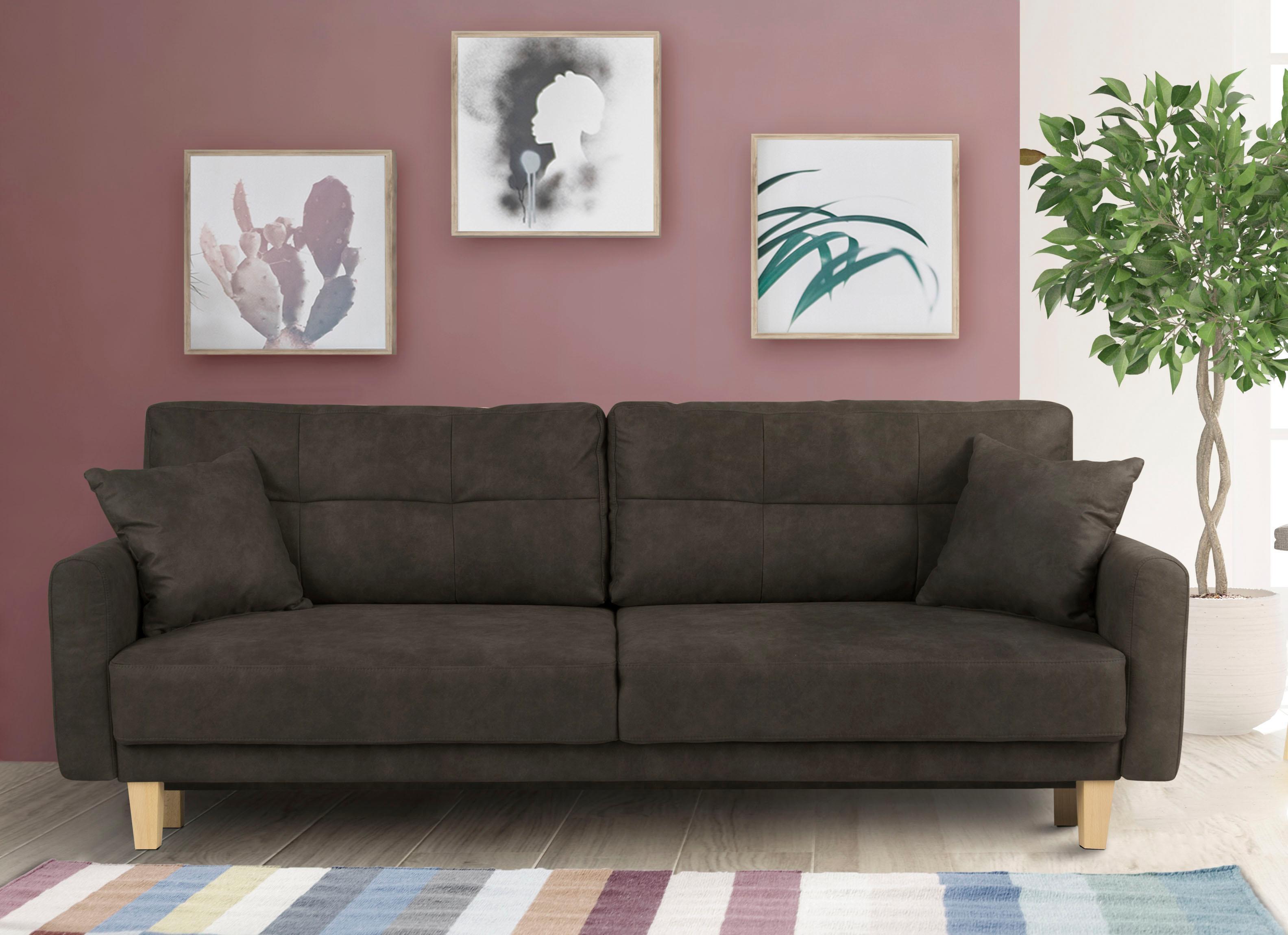 Home affaire 3-Sitzer Triplo wahlweise mit Bettfunktion und Bettkasten Zierkissen