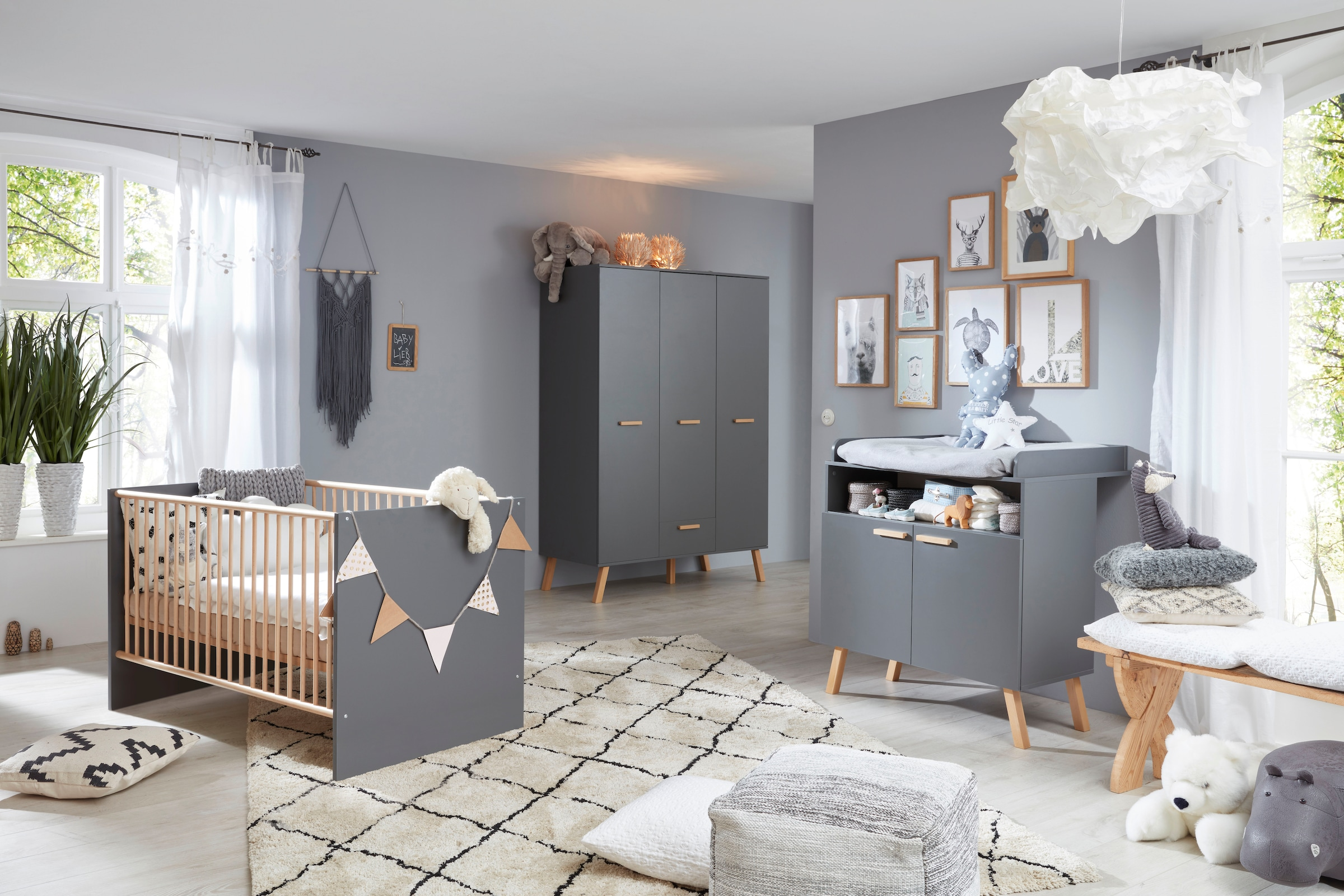 Babyzimmer Komplettset »Toronto«, Set, 21 St., Bett, Wickelkommode und  Schrank 21 türig