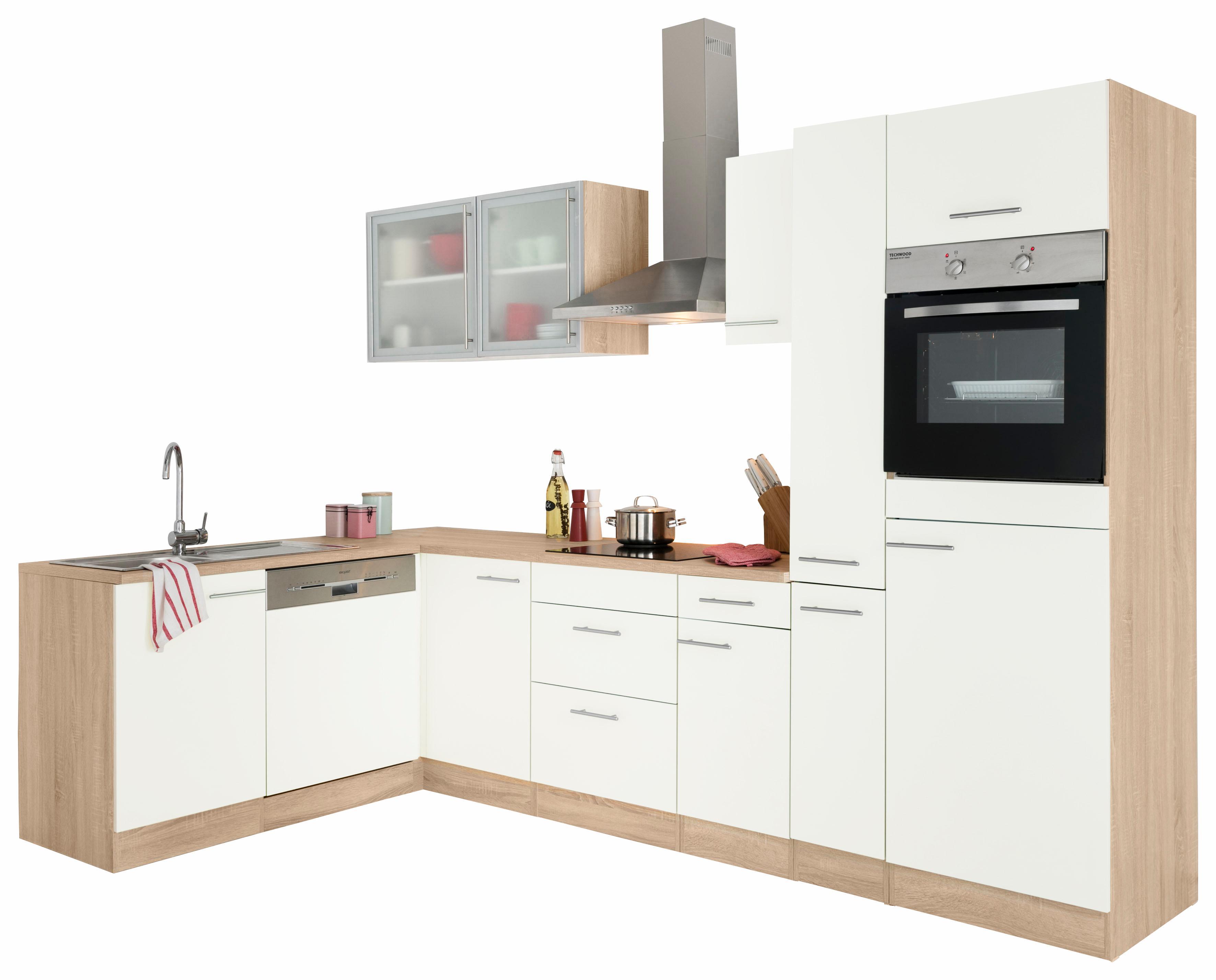 OPTIFIT Winkelküche »Kalmar« ohne E-Geräte, Breite 300x175 cm | Küche und Esszimmer > Küchen > Winkelküchen | Weiß | Eiche - Edelstahl - Melamin | OPTIFIT