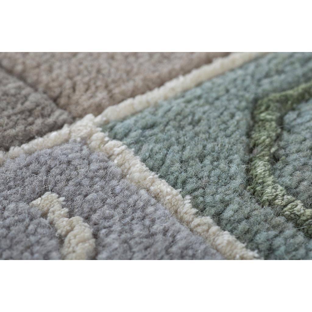 LUXOR living Wollteppich »India«, rechteckig, 20 mm Höhe, reine Wolle, handgeknüpft, mit Bordüre, Wohnzimmer
