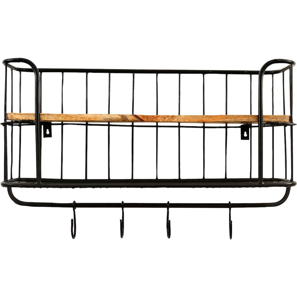 my Flair Wandregal »Khandahar«, Holz & Metall, Eckige Form, 2 Ablageböden, 4 Aufhänger, fertig montiert