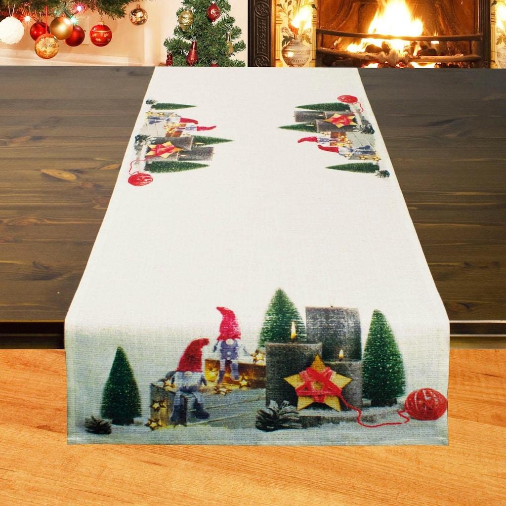 Delindo Lifestyle Tischläufer »3 WICHTEL«, (1 St.), Druckdesign, 185 g/m²