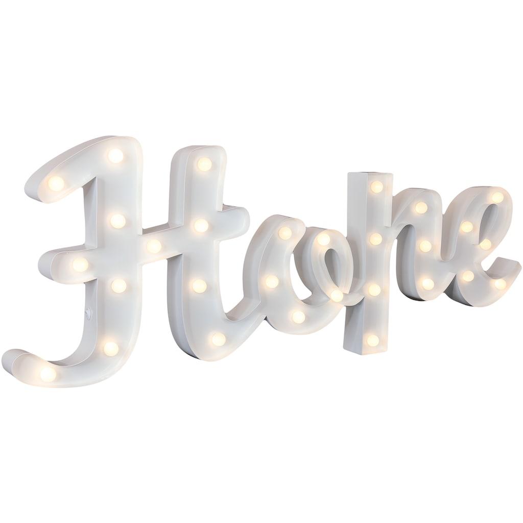 MARQUEE LIGHTS LED Dekolicht »Hope Schriftzug«, 1 St., Warmweiß, Wandlampe, Tischlampe Hope mit 29 festverbauten LEDs - 84cm Breit und 31cm hoch