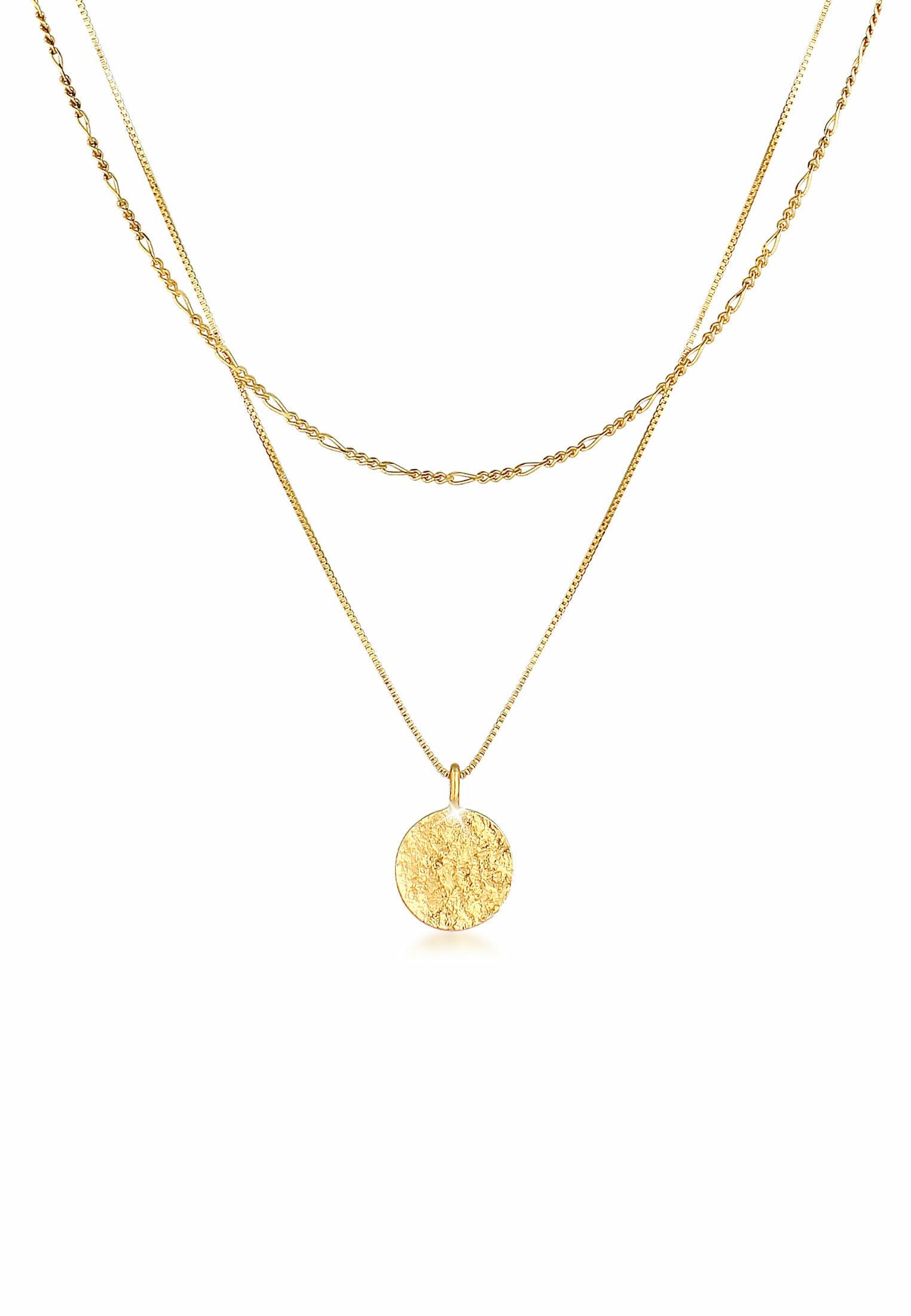 kuzzoi -  Silberkette Herren Layer Figaro Venezianer Plättchen 925 Silber