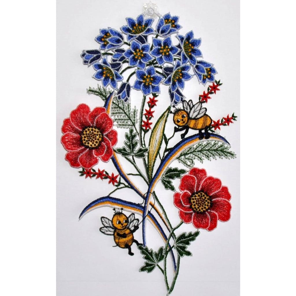Stickereien Plauen Fensterbild »Fensterbild Blumen«, Echte Plauener Spitze