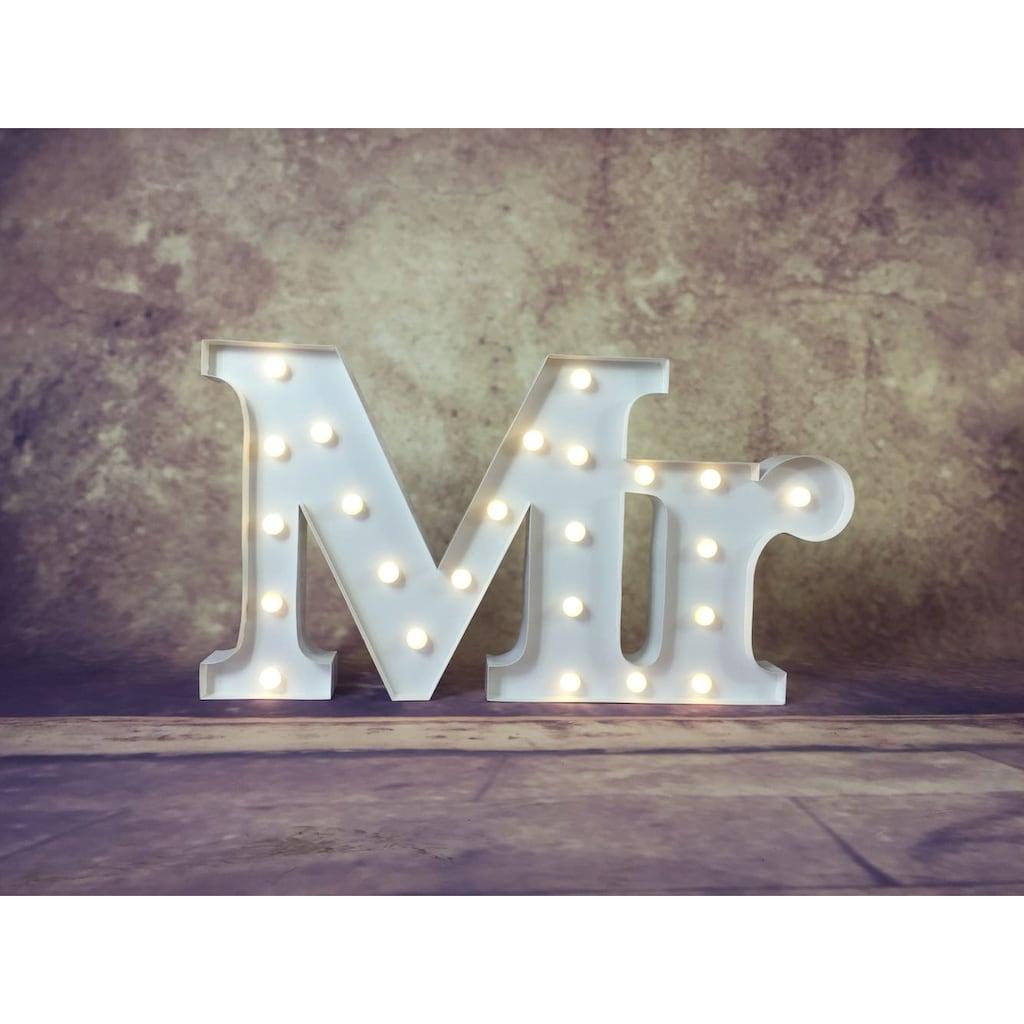 MARQUEE LIGHTS LED Dekolicht »Mr Schriftzug«, 1 St., Warmweiß, Wandlampe, Tischlampe Mr mit 24 festverbauten LEDs - 71cm Breit und 38cm hoch