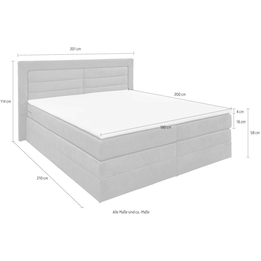 Boxspringbett »Saba«, (6 St.), inkl. zwei Bettkästen und Topper