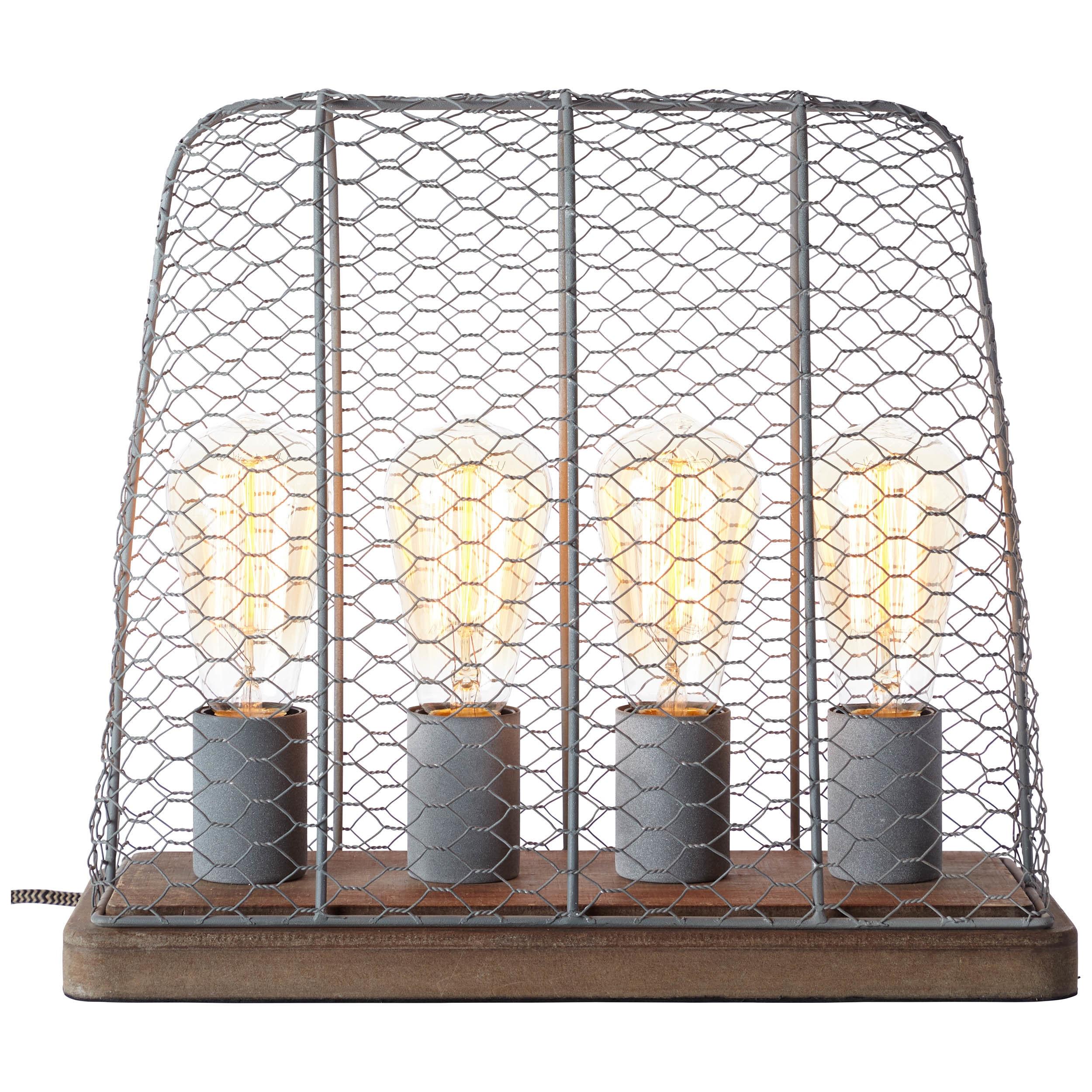 Brilliant Leuchten Hutch Tischleuchte 4flg grau Beton