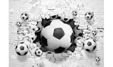 Consalnet Fototapete »3D Fußbälle Ziegelwand«, Motiv kaufen