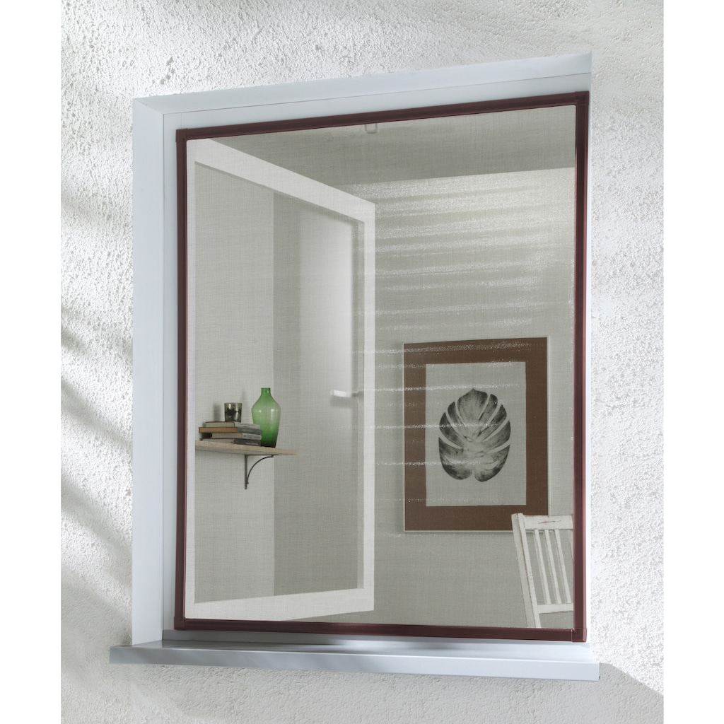 hecht international Insektenschutz-Fenster »BASIC«, braun/anthrazit, BxH: 80x100 cm