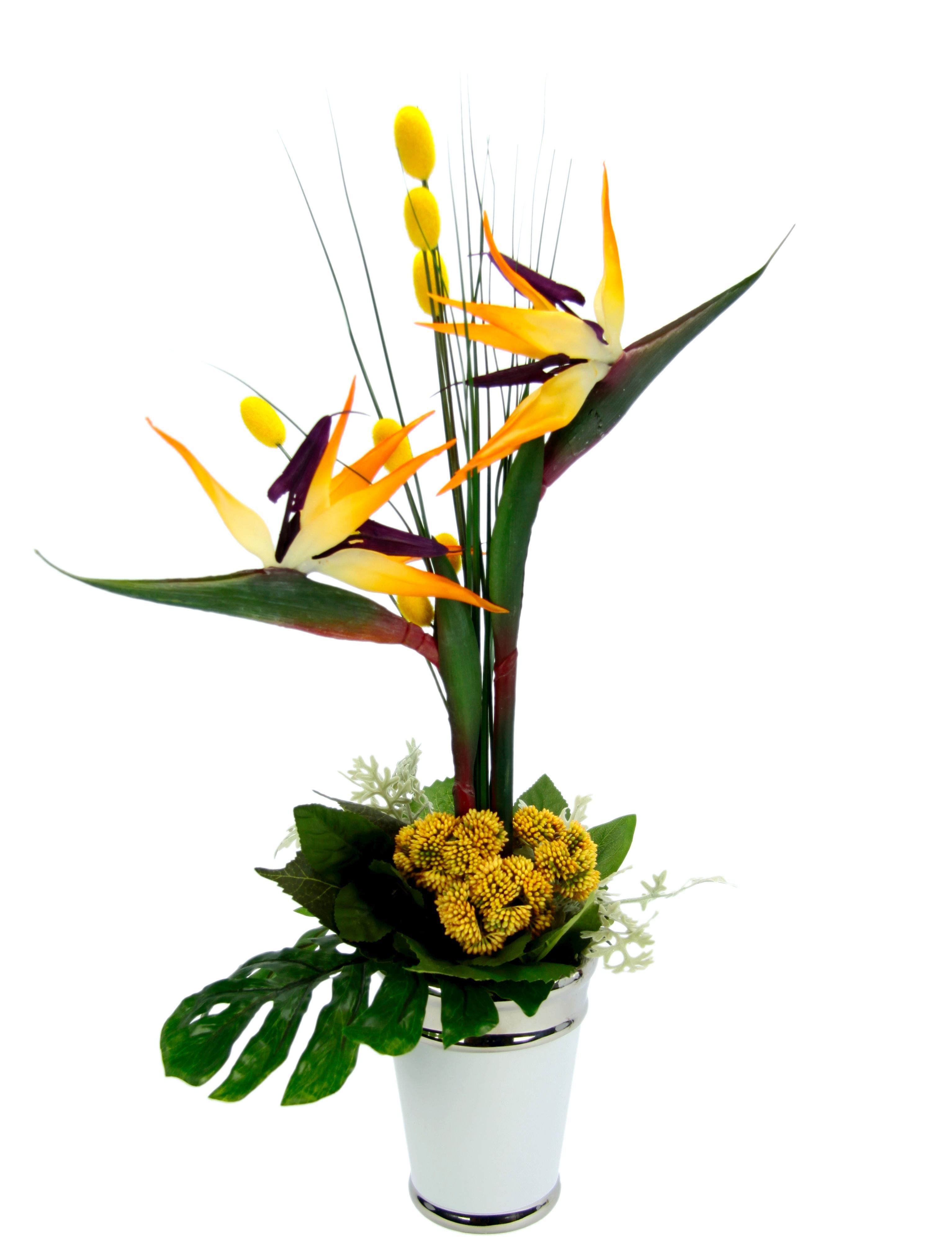 Kunstpflanze Strelitziengesteck in Topf, gelb