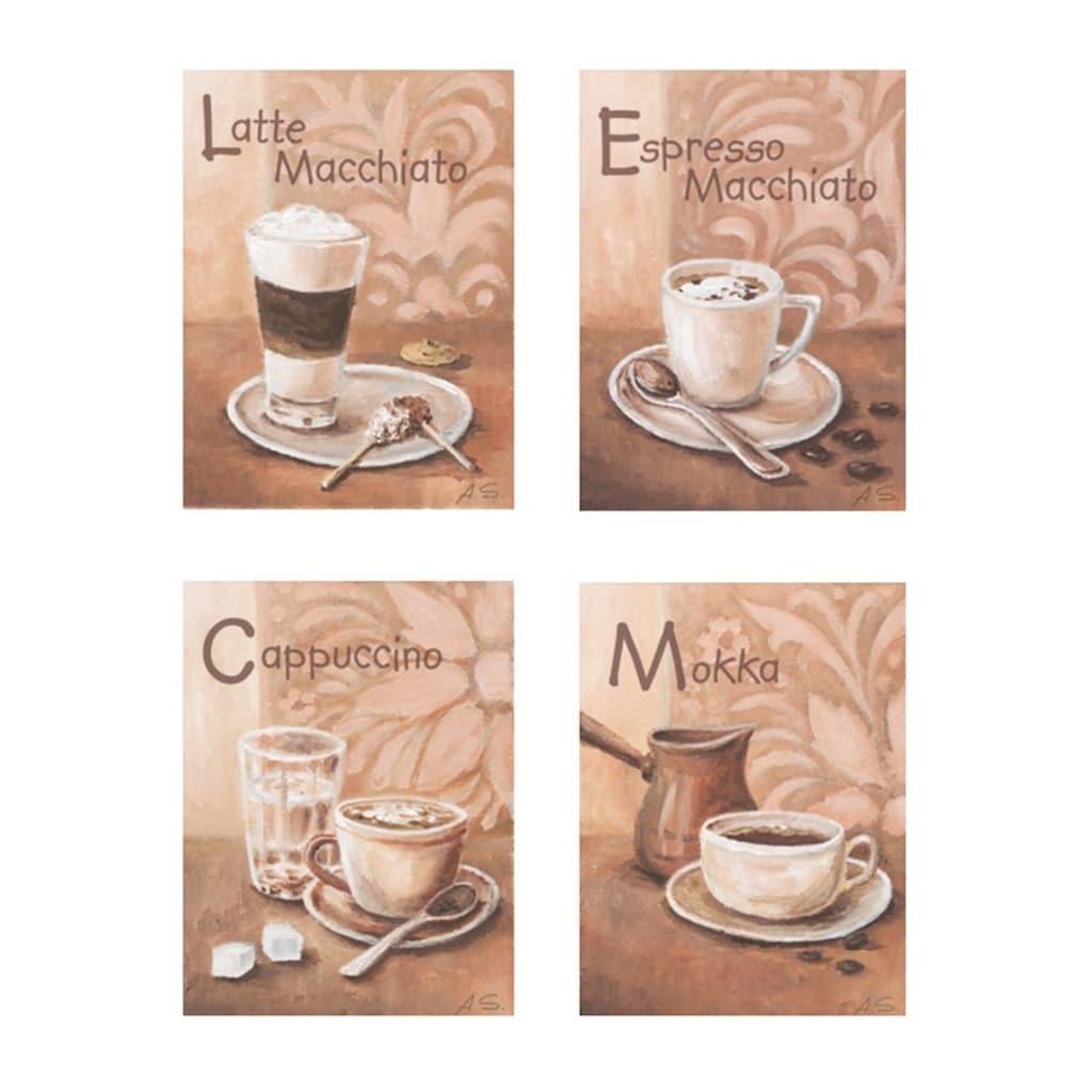 Home affaire Wandbild »Kaffeevariationen I«, (Set), 4x 17/23 cm