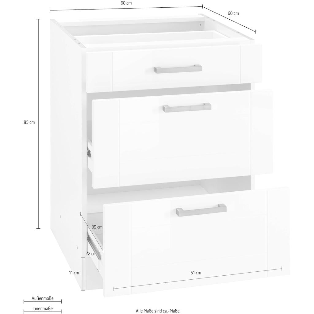 HELD MÖBEL Auszugsunterschrank »Tinnum«, 60 cm breit, MDF-Fronten, Metallgriff, 1 Schubkasten, 2 Auszüge