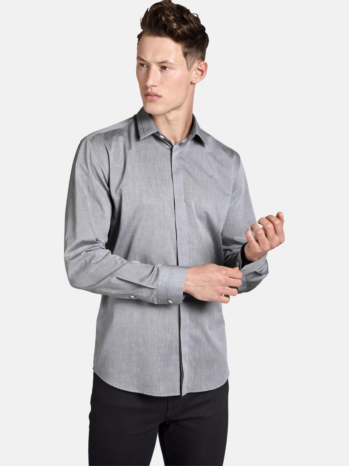 SHIRTMASTER Langarmhemd greyshades | Bekleidung > Shirts > Langarm Shirts | Shirtmaster