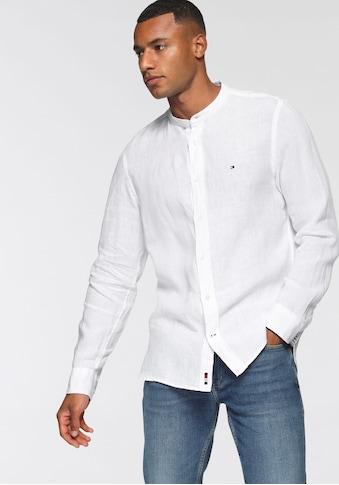 TOMMY HILFIGER Leinenhemd »PIGMENT DYED MAO COLLAR SHIRT« kaufen