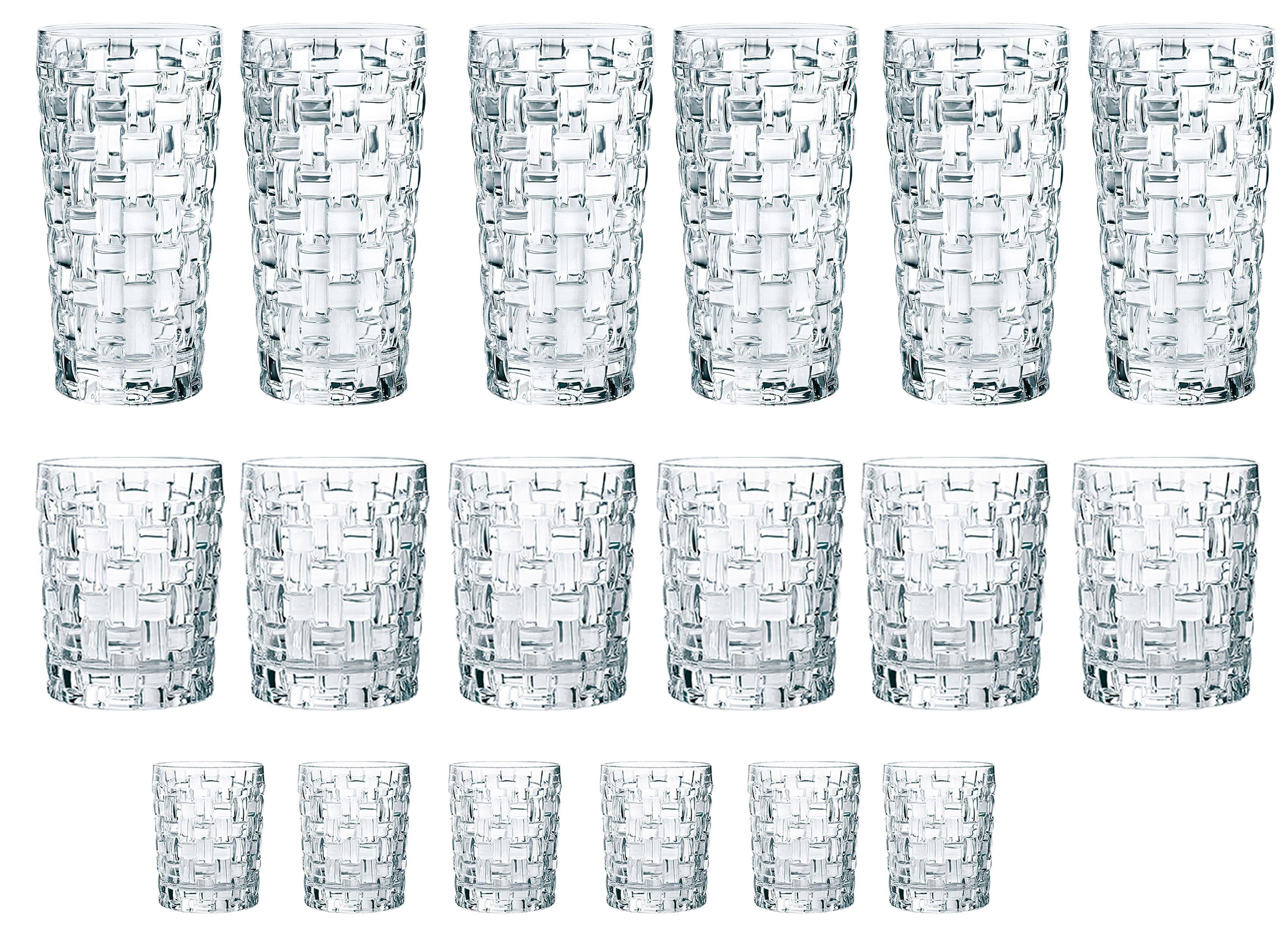 Nachtmann Gläser-Set Bossa Nova, (Set, 18 tlg., 6 Longdrink, Tumbler, Schnapsgläser), Kristallglas farblos Kristallgläser Gläser Glaswaren Haushaltswaren